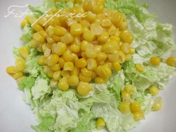 Кукуруза для диетического салата с пекинской капустой