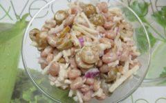 рецепт салата с фасолью и яблоком