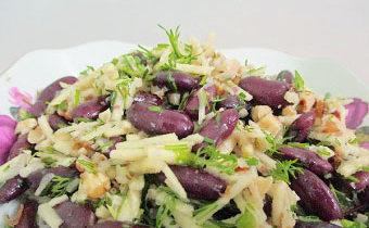 рецепт салата с фасолью и грецкими орехами с пошаговыми фото