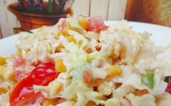 салат с пекинской капустой помидорами и кукурузой рецепт с пошаговыми фото